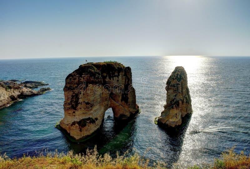 Raouche o roccia del piccione, Beirut, Libano fotografie stock