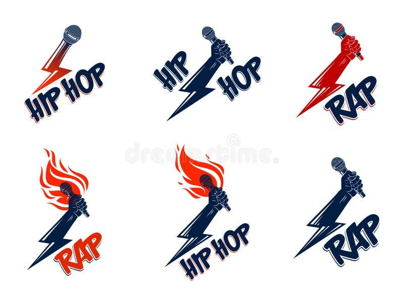 Rap emblematy lub ustawiający z mikrofonem ręka płomieniach i błyskawicowym ryglu, gorący Hip Hop rymów festiwalu koncert lub ilustracji