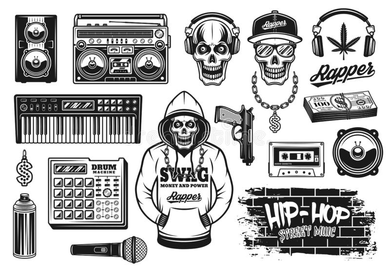 Rap and hip hop music attributes vector objects. Rap and hip hop music attributes set of vector objects or design elements in vintage monochrome style isolated stock illustration