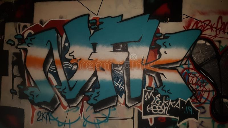 Rap hiphop Belgien för gata för etikettsgraffstad arkivbild
