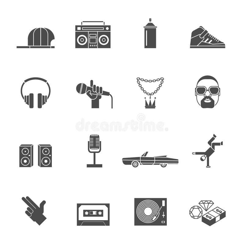 Rap ikony Ustawiać ilustracji