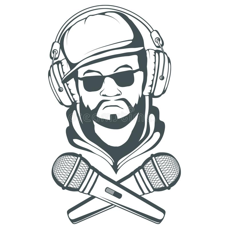 Rap music logo. Rapper skull on white background. Lettering with a microphone. vector illustration