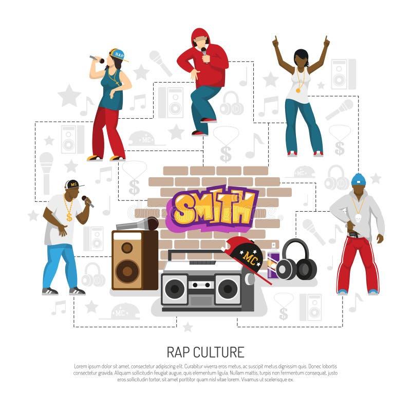 Rap Music Singers Symbols Background stock illustration