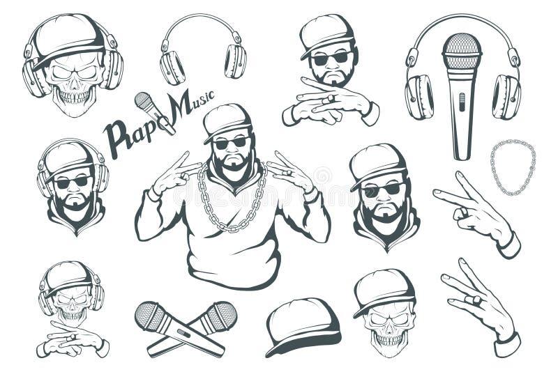 Rap set Raper czaszka na białym tle Literowanie z mikrofonem royalty ilustracja