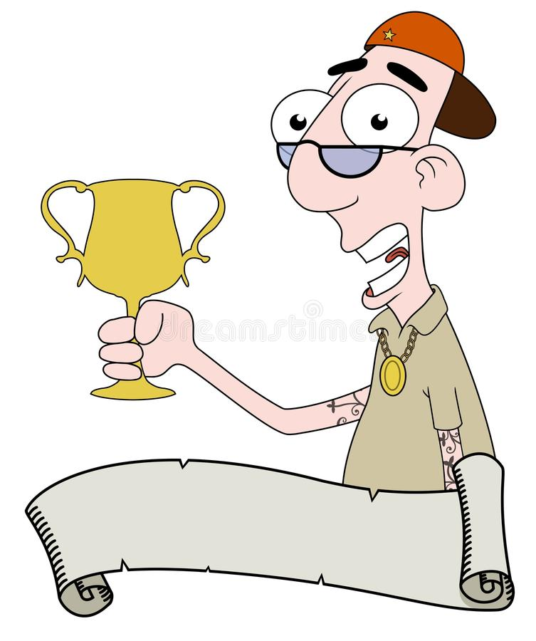 Download Rap star with trophy stock illustration. Image of smile - 19914493