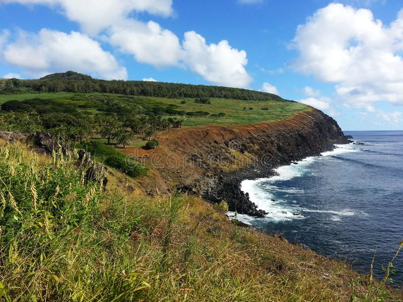 Rapa Nui cliff. South America travel, Easter Island, Rapa Nui. A great view of the cost of the island stock photo