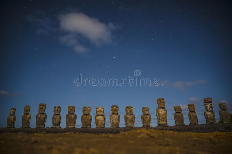 Rapa Nui Moai Statues Easter Island. Chile royalty free stock photo