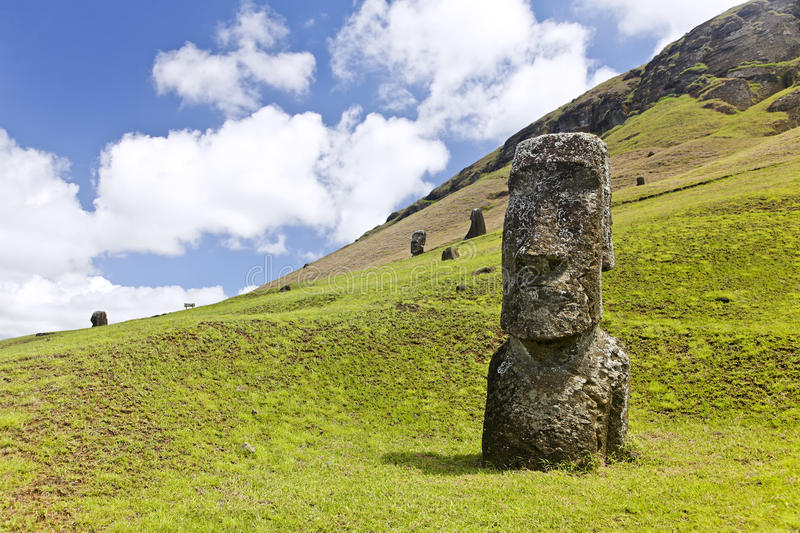 Rapa Nui National Park. Moai in Rapa Nui National Park on the slopes of Rano Raruku volcano on Easter Island, Chile royalty free stock images
