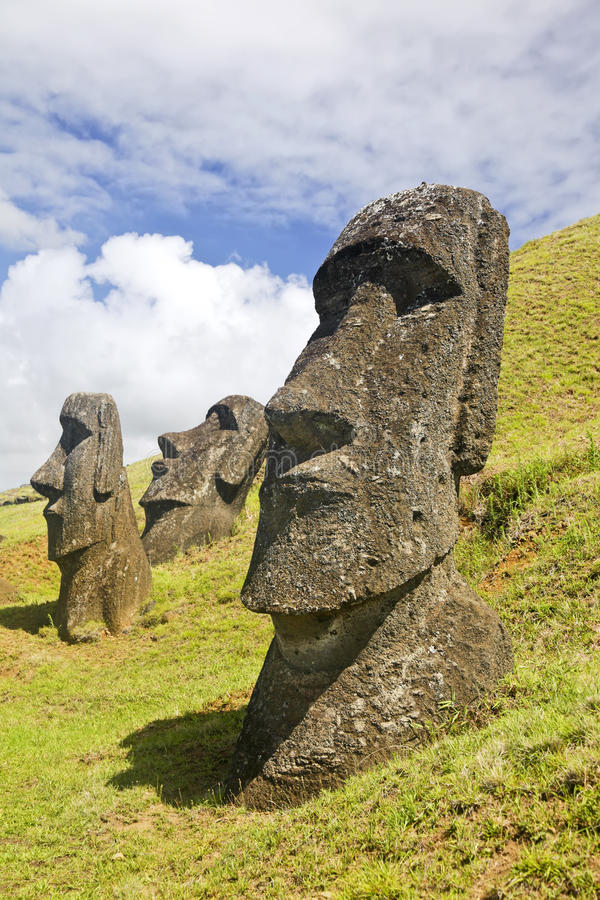 Rapa Nui National Park. Moais in Rapa Nui National Park on the slopes of Rano Raruku volcano on Easter Island, Chile stock image