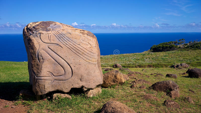 Rapa Nui petroglyph, Easter Island, Chile. A Rapa Nui petroglyph located at the entrance of the ancient Orongo Village, on the Rano Kau volcano, Easter Island stock photography