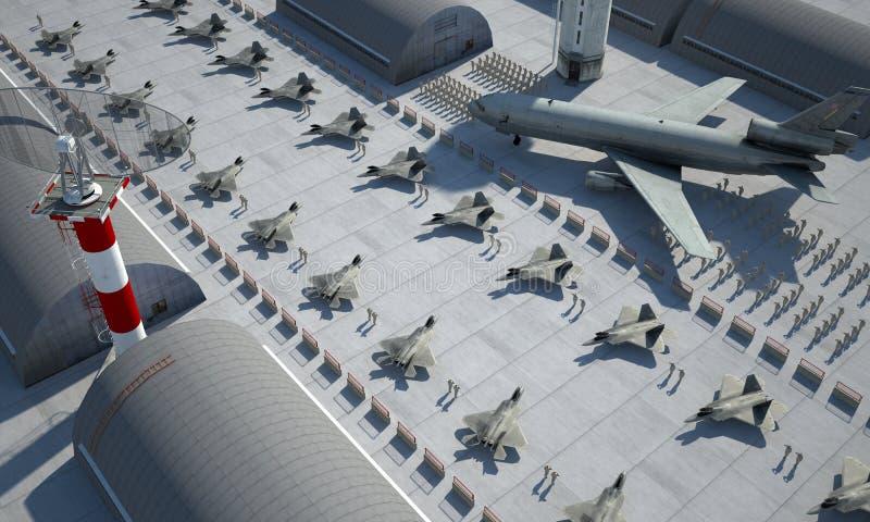 Rapace di F 22, aereo di combattimento militare americano Base di Militay, capannone, bunker immagine stock libera da diritti