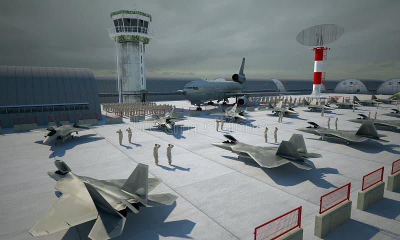 Rapace di F 22, aereo di combattimento militare americano Base di Militay, capannone, bunker immagine stock