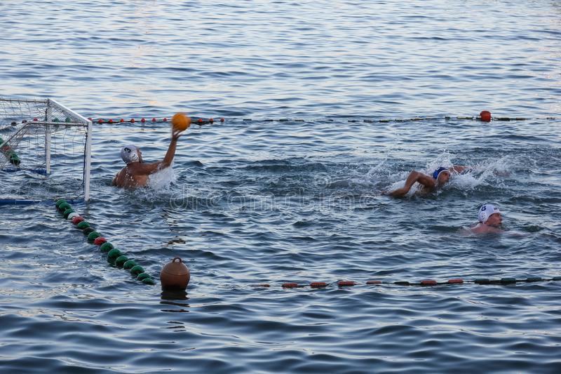Rapallo - SEPT 2011 Italy, Water polo sports. Gates float on water surface coast. Fun summer sport acitivity for tourists and athl royalty free stock photography