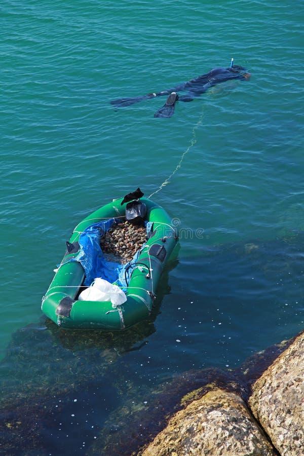 Rapan catcher. Black sea coast, Bulgaria. Rapan catcher with boat. Black sea coast, Bulgaria stock images