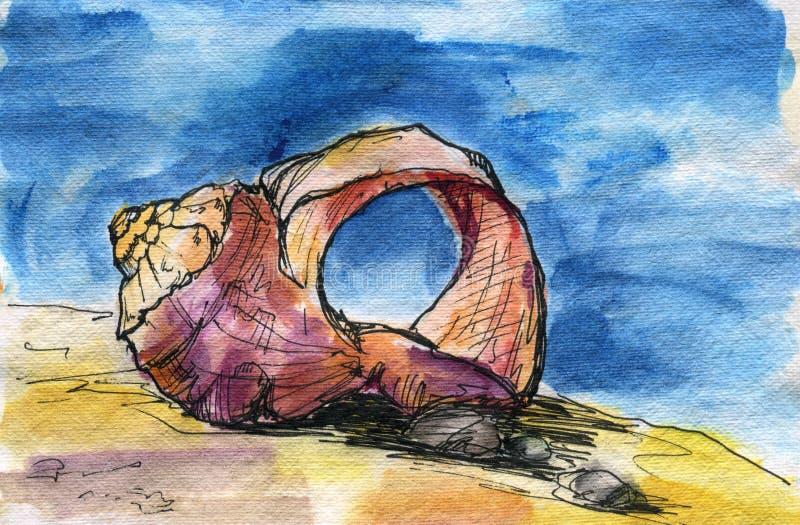 Rapana-venosa oder Rapa-Pustel, Sand, blauer Himmel stockfotos