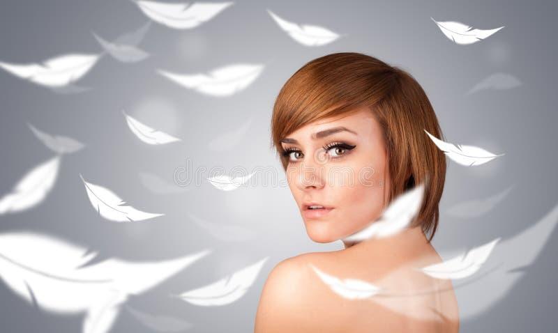 Rapariga bonita com conceito claro da pele da pena fotografia de stock royalty free