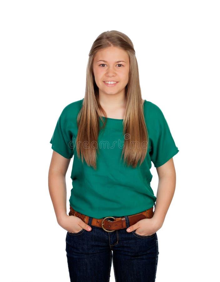 Rapariga bonita com t-shirt verde imagem de stock royalty free