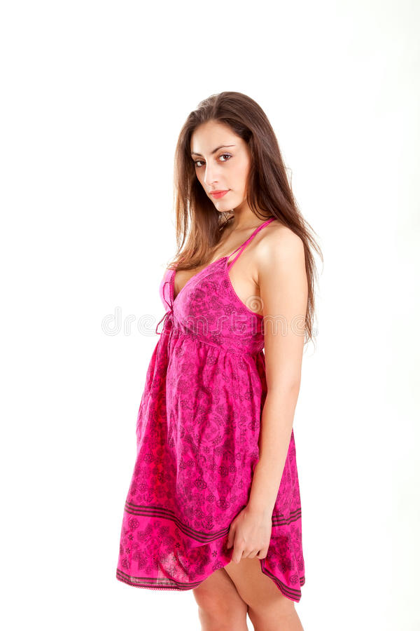 Rapariga bonita no vestido vermelho isolado no branco fotografia de stock royalty free