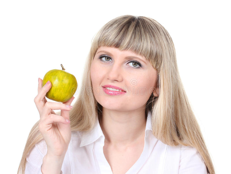 Rapariga bonita que prende a maçã verde imagens de stock royalty free