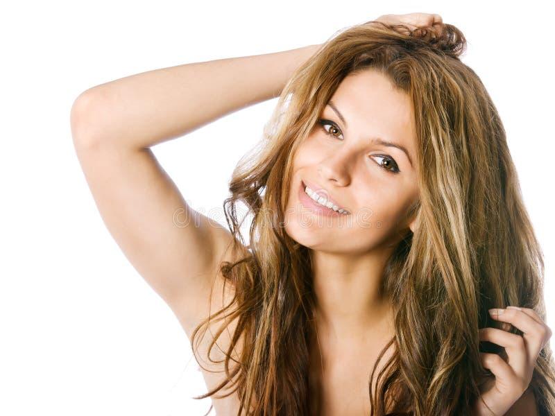 Rapariga bonito de sorriso no estúdio fotos de stock