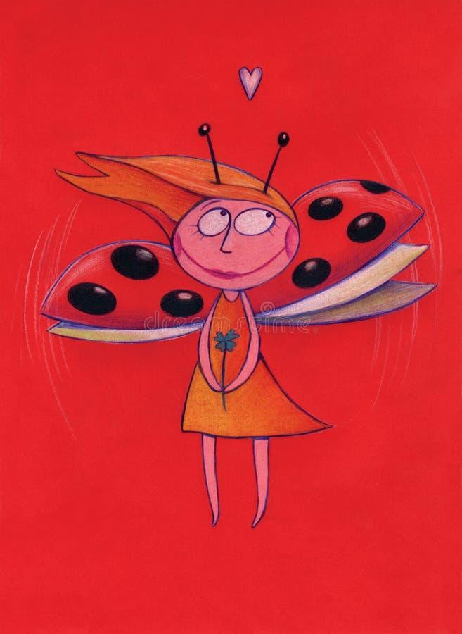 Rapariga com asas da joaninha ilustração stock