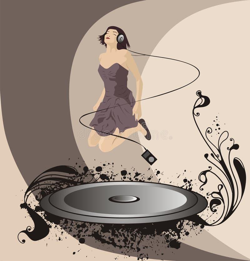 Rapariga com auriculares, ilustração do vetor ilustração stock