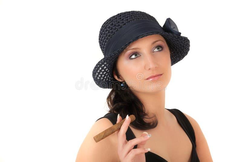 Rapariga com charuto imagens de stock