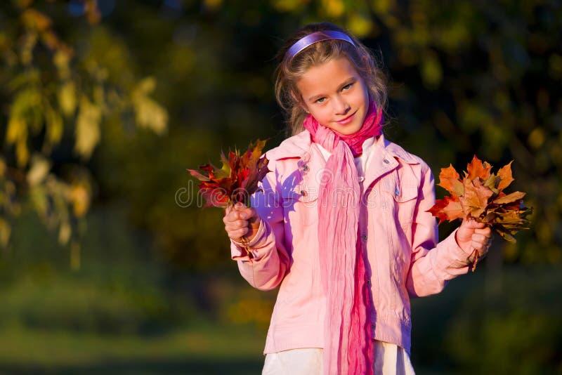 Rapariga com folhas de outono imagem de stock royalty free