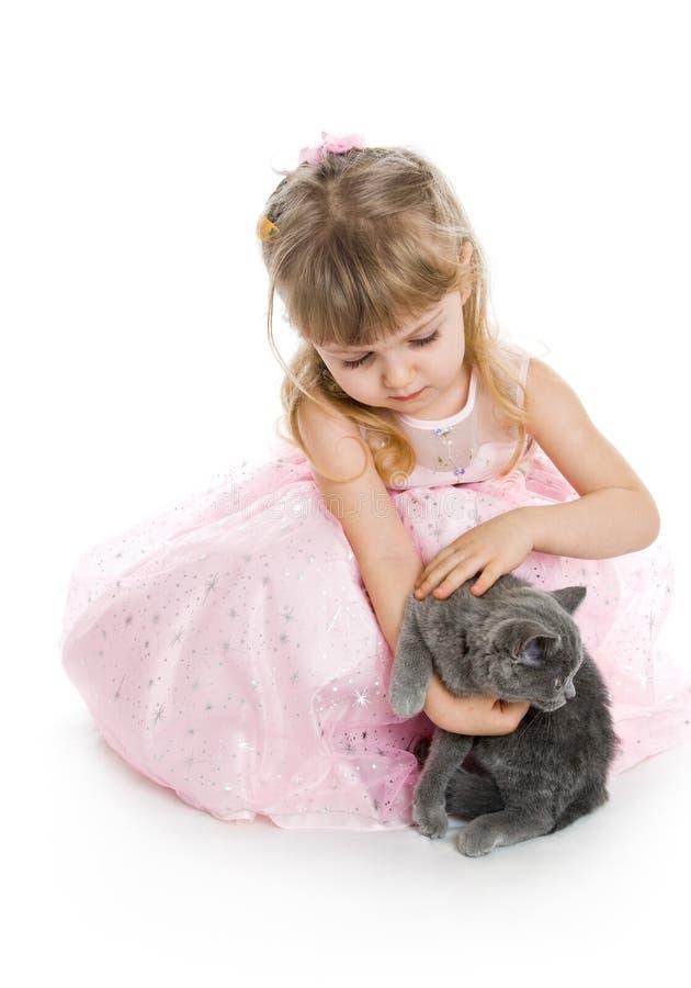 Rapariga com gatinho imagens de stock