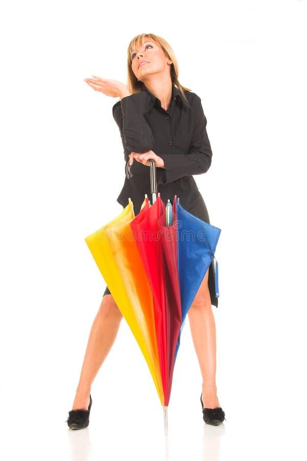 Rapariga com guarda-chuva imagens de stock