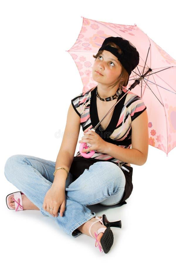 Rapariga com guarda-chuva fotos de stock