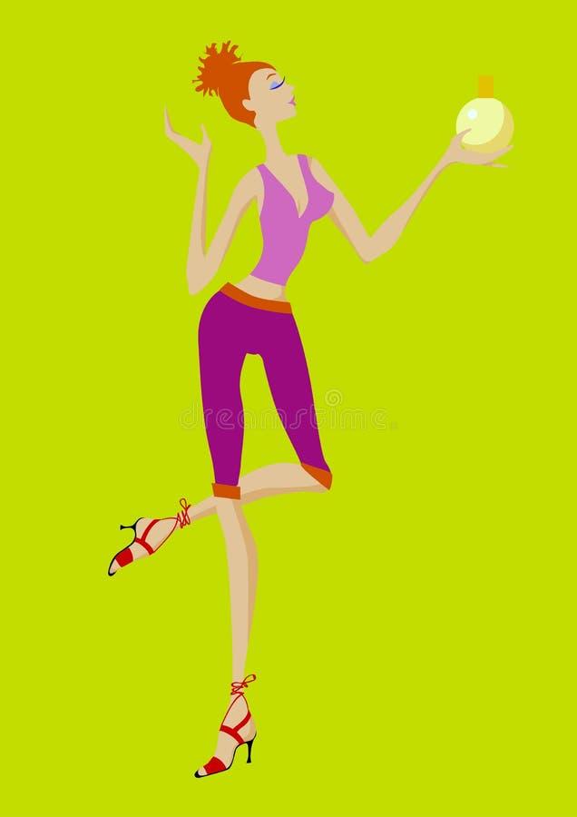 rapariga com perfume ilustração do vetor