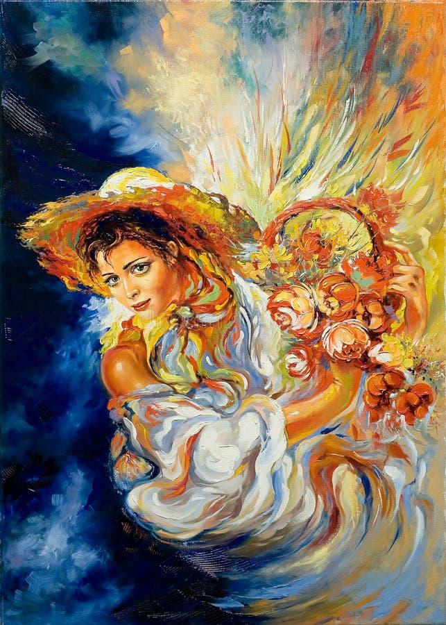 A rapariga com um ramalhete ilustração stock