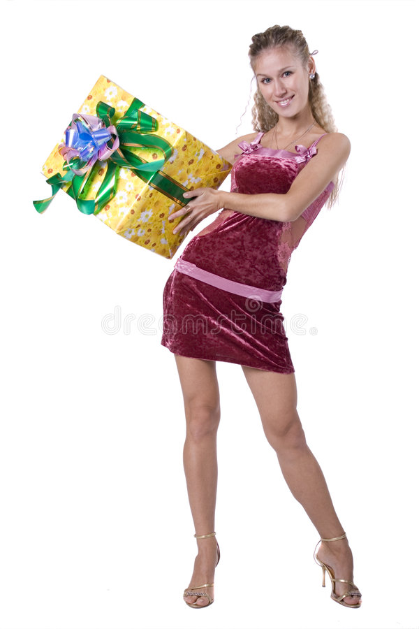 A rapariga com uma caixa de presente fotos de stock