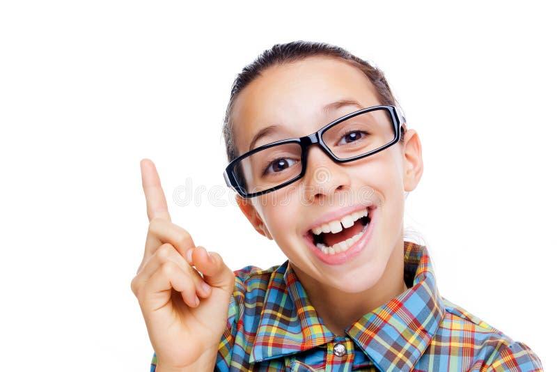Rapariga com uma idéia imagens de stock