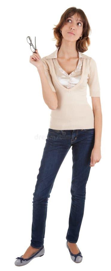 Rapariga com vidros à disposicão fotografia de stock royalty free