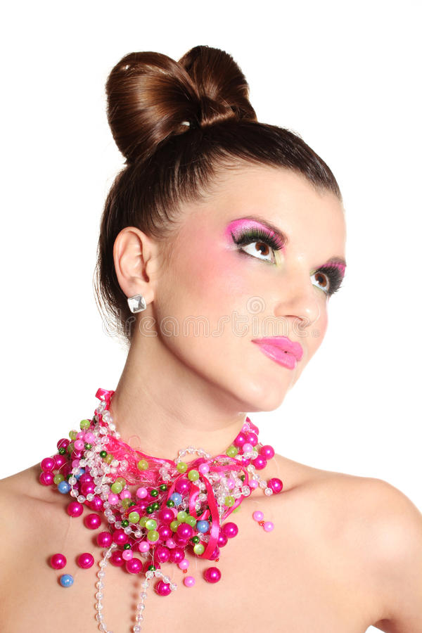 Rapariga como uma boneca no vestido cor-de-rosa fotografia de stock royalty free