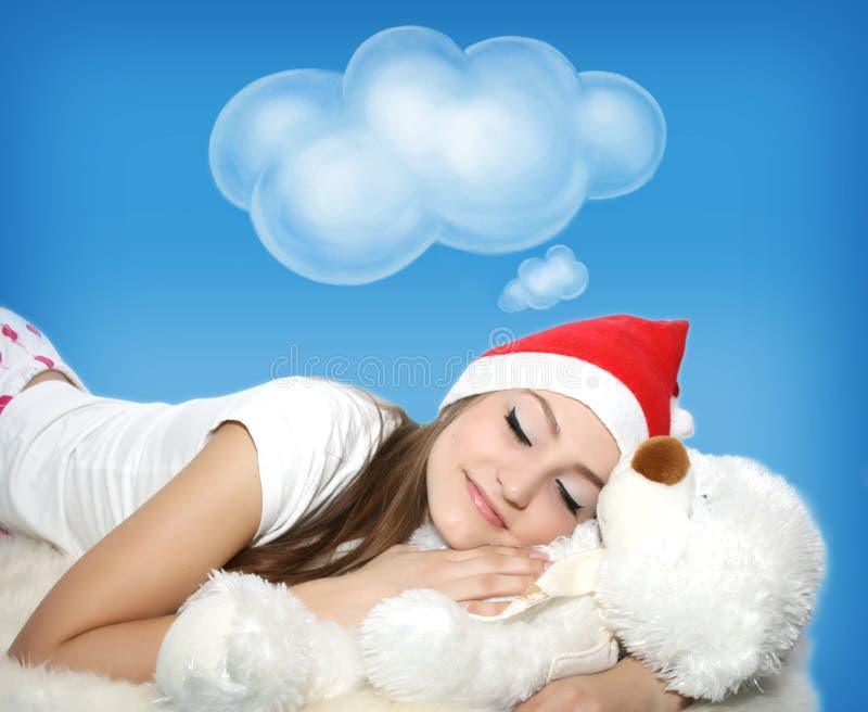 Rapariga de sono com urso de peluche imagem de stock