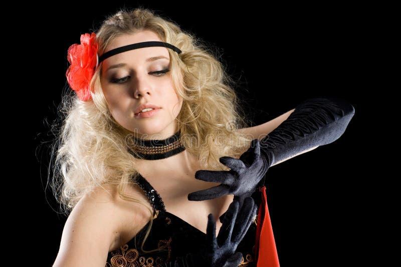 Menina que dança a dança expressivo do espanhol. imagens de stock