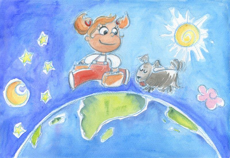 Rapariga em torno do mundo ilustração do vetor