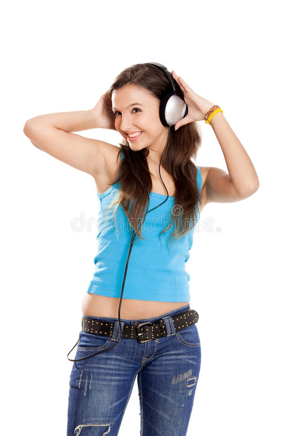 A rapariga escuta música fotografia de stock