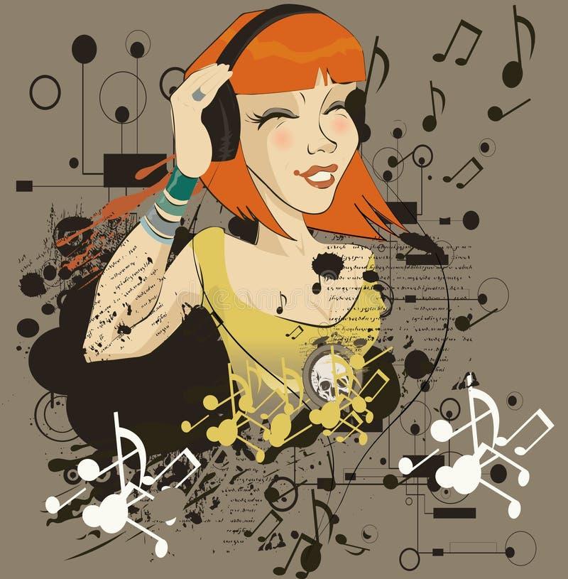 A rapariga escuta a música no auscultadores ilustração stock