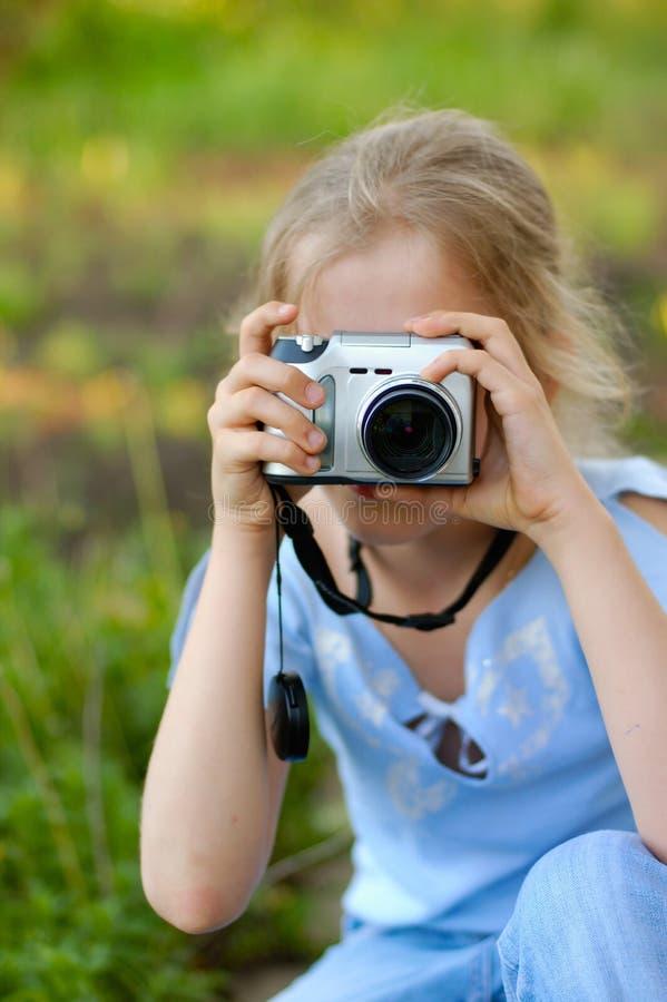 Rapariga, fotógrafo fotografia de stock royalty free