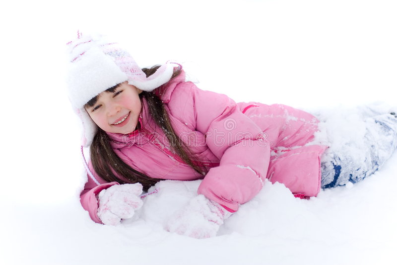 Rapariga na neve foto de stock
