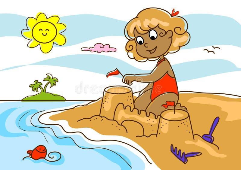 Rapariga na praia ilustração royalty free