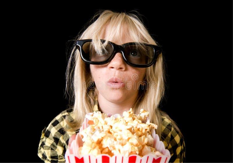 Rapariga no filme 3-D fotos de stock royalty free