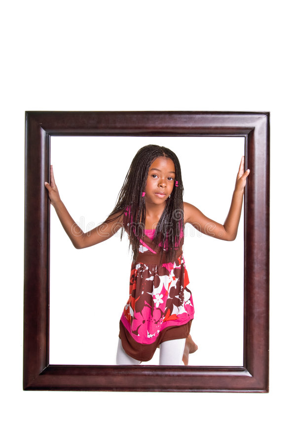 Rapariga no frame fotografia de stock royalty free