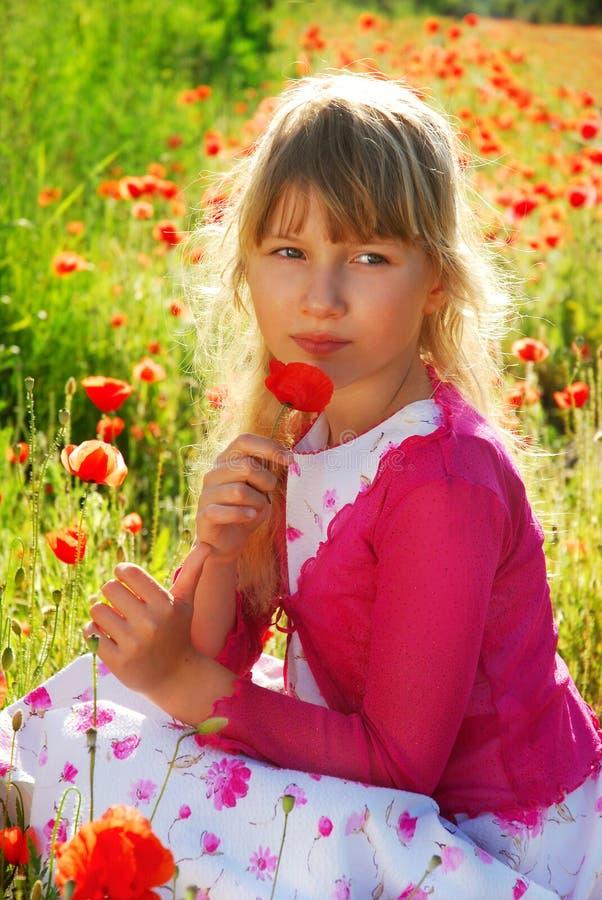 Rapariga no prado com papoila fotos de stock royalty free