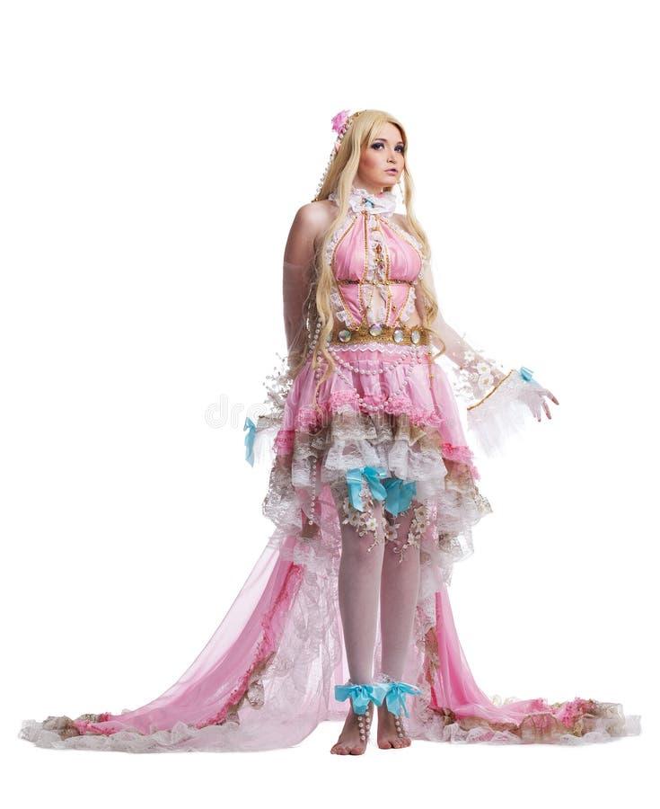Rapariga no traje cosplay da boneca do fairy-tale fotografia de stock