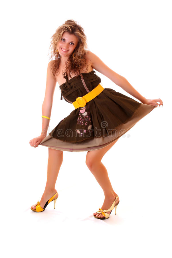 Rapariga no vestido engraçado foto de stock